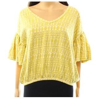 Free People NEW Yellow Combo Women's Size XS V-Neck Ruffle Blouse