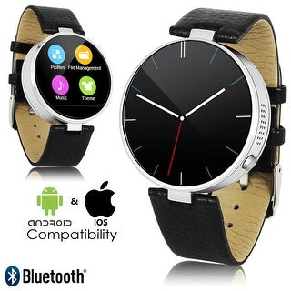 #1 Professional Bluetooth Sync Leather SmartWatch (SMS/Push Notifcations + Heart Rate Sensor + Alarms + Pedometer)