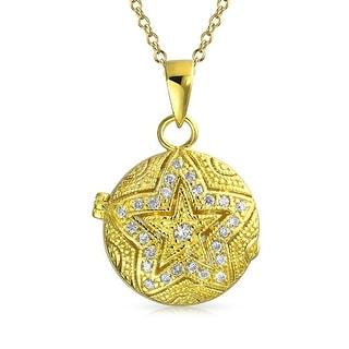 Bling Jewelry Patriotic Vintage Style CZ Star Locket Pendant Gold Plated Necklace 18 Inches