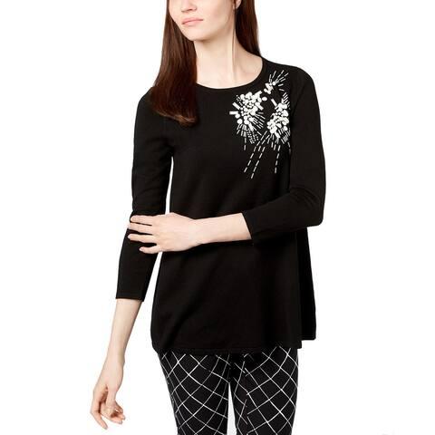 Alfani Women's Embellished 3/4-Sleeve Sweater (XL)