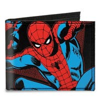 Marvel Comics Spider Man Action Poses Black Canvas Bi Fold Wallet One Size - One Size Fits most