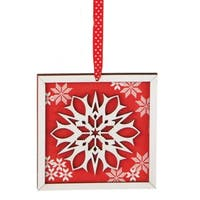 "5"" Alpine Chic Country Rustic Style Red and White Glittered Snowflake Framed  Christmas Ornament"