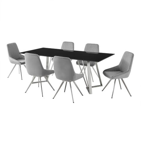 Glass Top 7 Piece Dining Table with Vertically Tufted Chairs, Gray