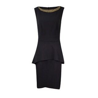 Connected Women's Petite Embellished Crepe Peplum Sheath Dress - Black
