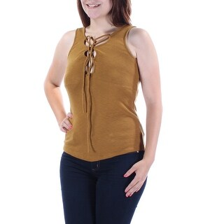 FREE PEOPLE $58 Womens New 1456 Gold Tie V Neck Sleeveless Vest Casual Top S B+B