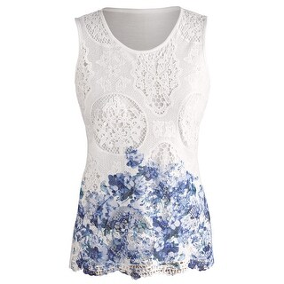 Women's Blue Ombre Border Lace Tank - Textured Fashion Top