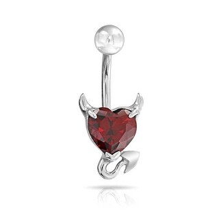 Bling Jewelry Red CZ Devil Heart Belly Ring 316L Steel 14G