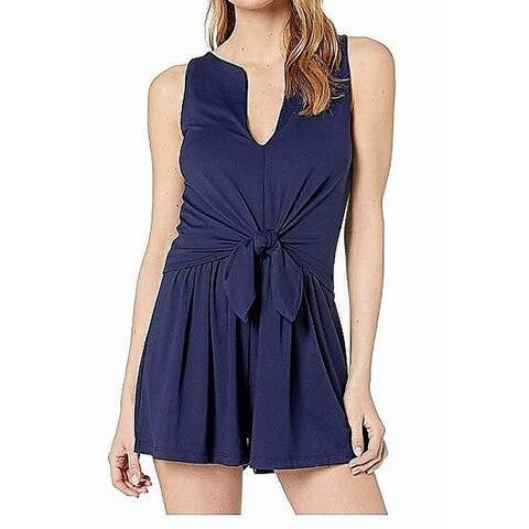 Susana Monaco Womens Romper Blue Size Large L Split-Neck Tie-Waist