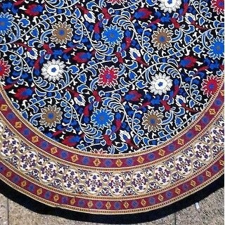 """Handmade Sunflower Print 100% Cotton Tablecloth 60""""x60"""" Square & 66"""" Round in Two shades - Yellow Black & Blue Black"""