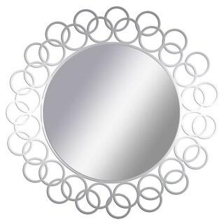 "PTM Images 5-1664 15-1/2"" Diameter Round Interlocking Ring Framed Mirror - Silver"