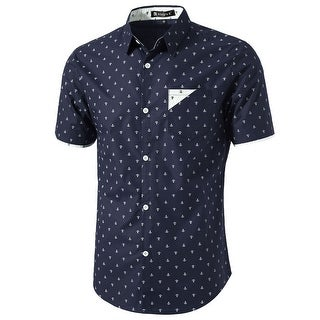 Men Point Collar Button Down Short Sleeve Anchor Pattern Casual Shirt