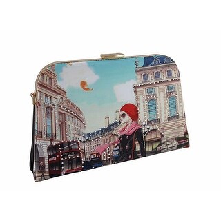 Windy City Scene Rhinestone Metal Frame Clutch Purse w/Removable Strap