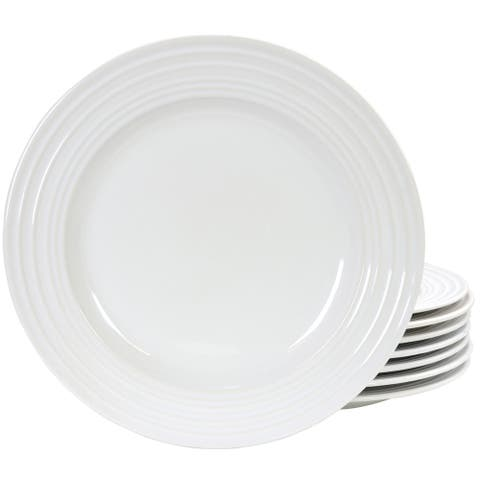 "Plaza Cafe 10.5"" Dinner Plate Set in White, Set of 8"