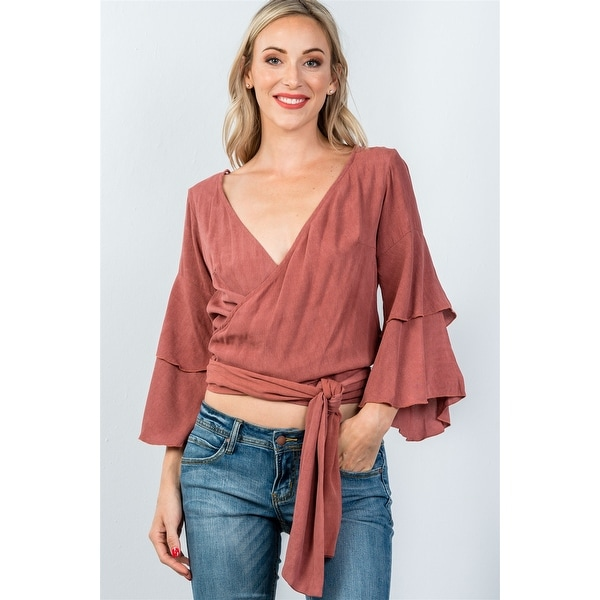 bcb84e286c8a56 Shop Ladies Fashion Rust V Neckline Wrap Tie Tiered Bell Sleeves Blouse -  Size - M - Free Shipping On Orders Over $45 - Overstock - 23161535