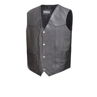 Men Cowhide Leather Motorcycle Biker Classic Western Style Vest Black