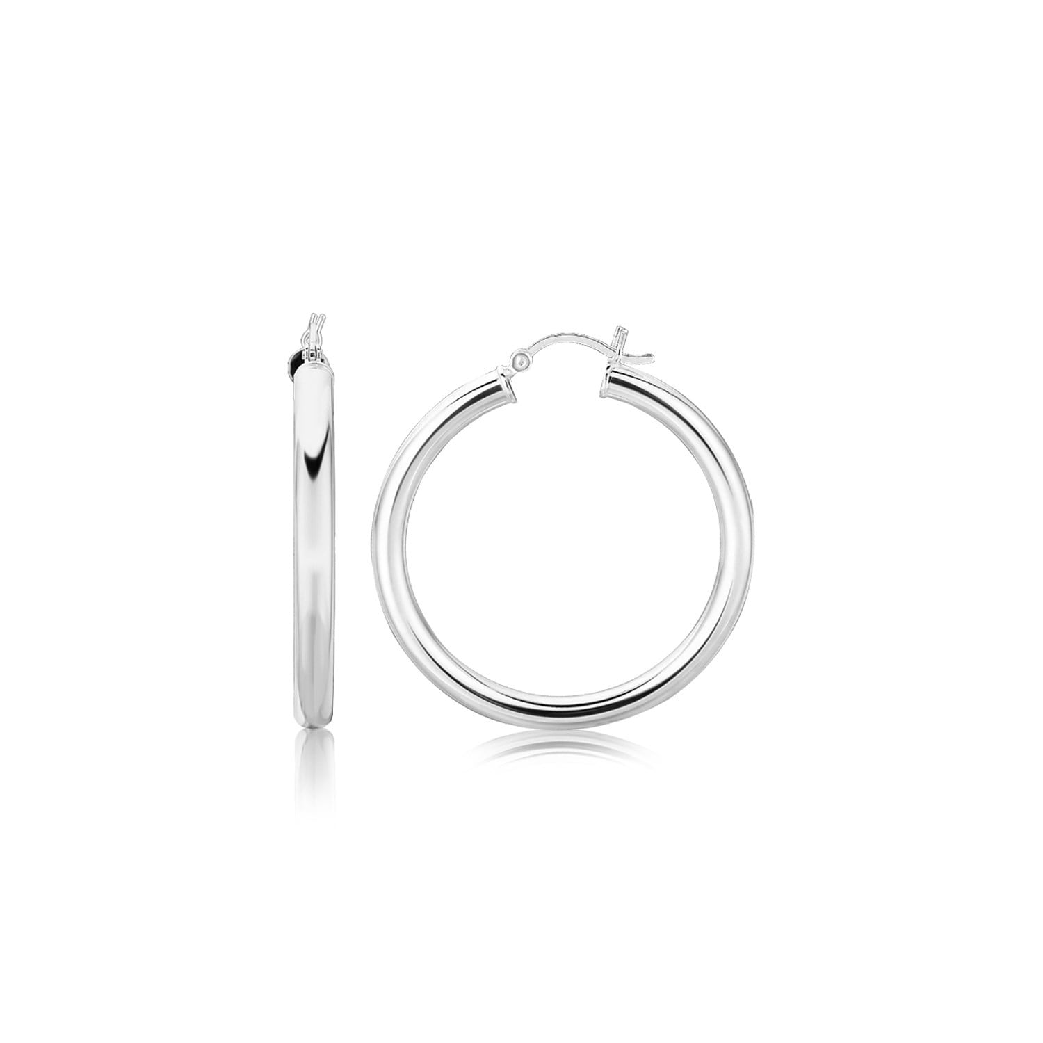 925 Sterling Silver Rhodium-plated Rose-tone Polished /& Hoop w//Chain Post Earrings