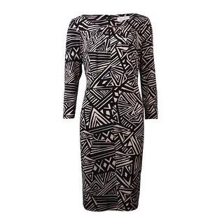 Calvin Klein Women's Printed Keyhole Neckline Jersey Dress