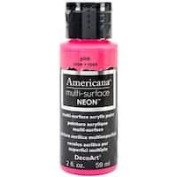 Americana Multi-Surface Neon Acrylic Paint 2oz-Pink - Pink