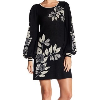 Max Studio Women Floral Print Puff Sleeve Sweater Dress