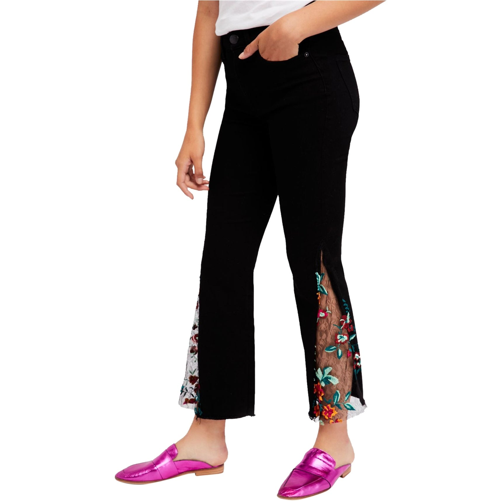 Free People Womens High Rise Embroidered Lace Flare Jeans