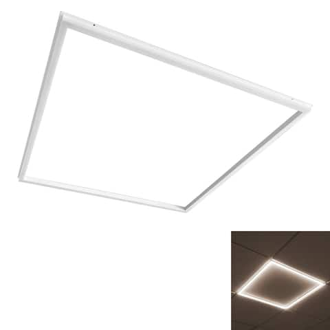 Luxrite 2x2 FT Slim Frame LED Edge Light, 40W, Dimmable, 4000 Lumens, Drop Ceiling Panel Light, 100-277V, UL Listed