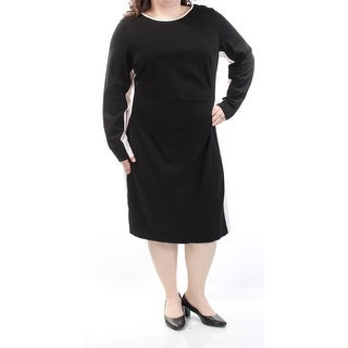 RALPH LAUREN Womens Black Sleeveless Jewel Neck Knee Length Wear To Work Dress Plus Size: 20W