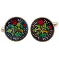 British Six Pence Coin Cufflinks Hand Painted Coin Collector Memorbilla