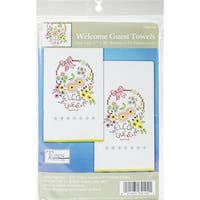 "Stamped Kitchen Towels For Embroidery 18""X28"" 2/Pkg-Welcome Guest"