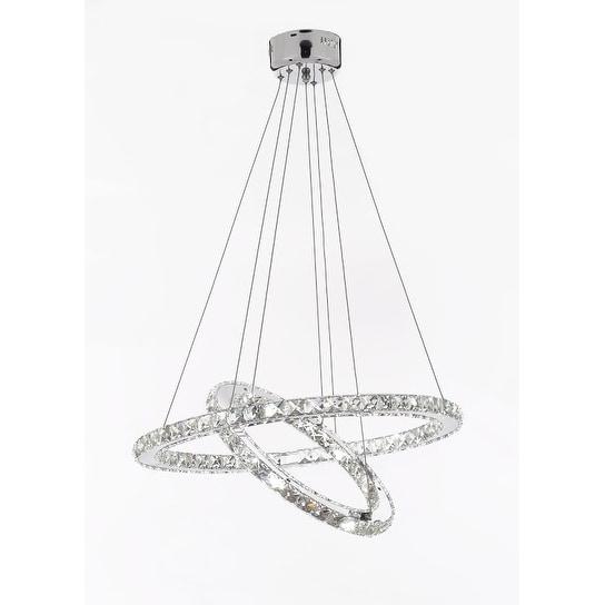 "Crystal Elipse Ring Chandelier LED Modern / Contemporary Lighting 23"" Wide"