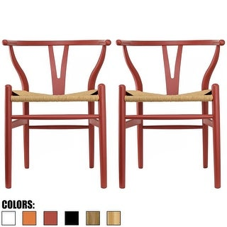2xhome - Set of 2 Red Modern Wood Dining Chair With Back Arm Armchair Hemp Seat For Home Restaurant Office