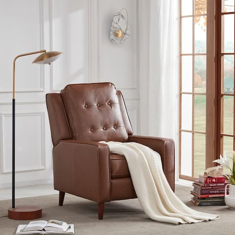 Medieval Pu Leather Push Back Recliner Manual Armchair - Light Brown