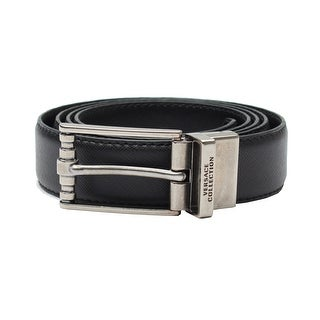 Versace Collection Men's Adjustable Stainless Steel Buckle Saffiano Leather Reversible Belt Black - XL