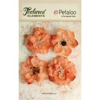 "Apricot - Textured Elements Burlap Blossoms 2.25"" 4/Pkg"
