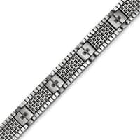 Chisel Stainless Steel Antiqued Brushed CZ Bracelet