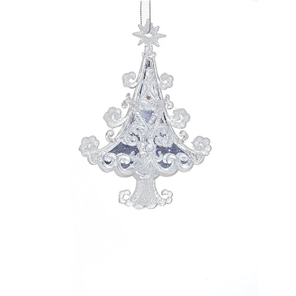 "5.7"" Ornate Crystal Scroll Pattern Christmas Tree Hanging Christmas Ornament - WHITE"