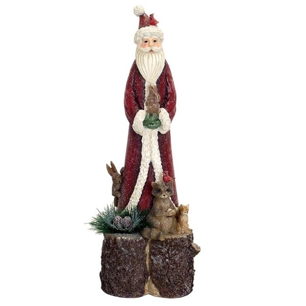 """16.25"""" Glittered Old World Santa Claus with Animals on a Tree Trunk Christmas Figurine - RED"""