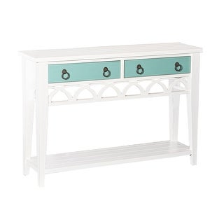 """Powell Home Fashions D1018A16  Elliana 48"""" Wide Wood 2 Drawer Console Table with Reversible Colors - White"""