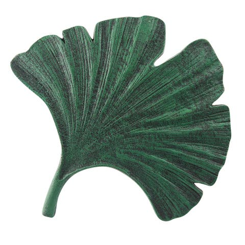 Art & Artifact Gingko Leaf Stepping Stone - Cast Iron Garden and Yard Decor - Green - 13 in. x 13 in.