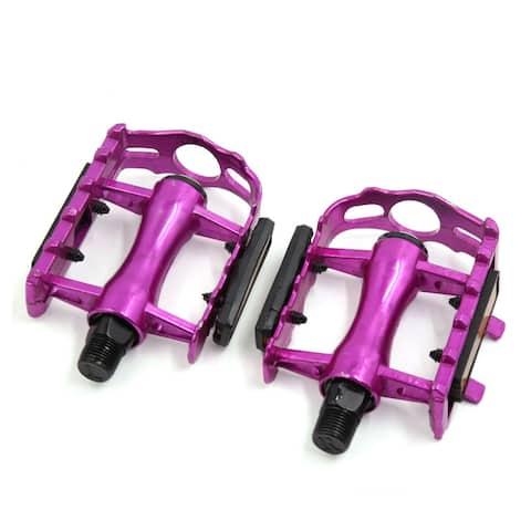 2 Pcs Purple Bike Bicycle Cycling Anti-Slip Axle Flat Platform Pedals