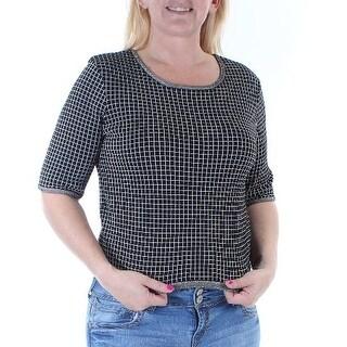 KIIND OF $89 Womens New 2464 Black White Geometric Short Sleeve Tunic Top L B+B