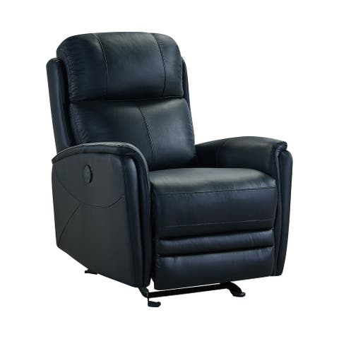 19 Inch Contemporary Recliner Leather Chair with USB, Black