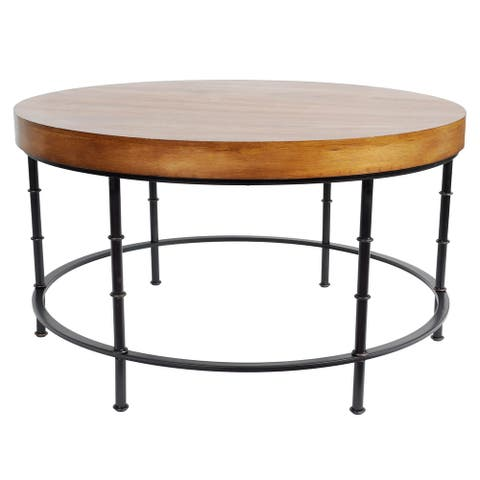 Harrelson Wood and Metal Round Coffee Table