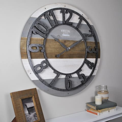 """FirsTime & Co.® Shabby Farmhouse Planks 27"""" Wall Clock, American Crafted, Rustic Gray, Wood, 27 x 1.75 x 27 in"""