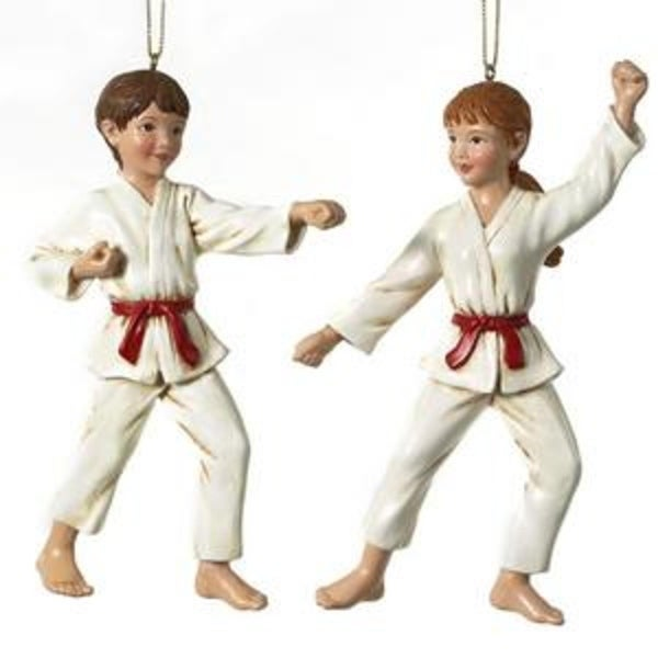 Club Pack of 12 Karate Martial Arts Uniformed Boy and Girl Christmas Ornaments