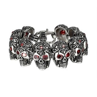Mens Skull Link Bracelet Stainless Steel Red Solitaire Eyes Gothic Biker Custom