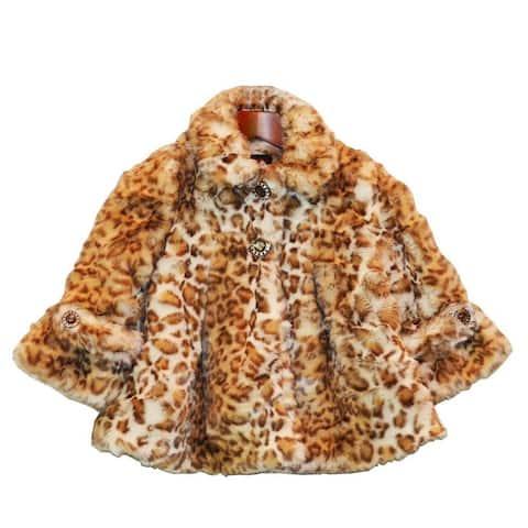 Girls Snow Leopard Faux Fur Coat 7-12