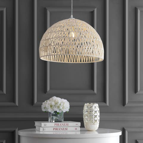 "Campana 20"" Woven Rattan Dome LED Pendant, Cream by JONATHAN Y"