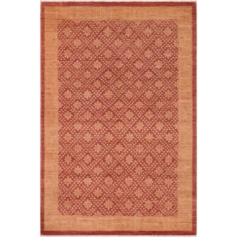 """Shabby Chic Ziegler Minh Hand Knotted Area Rug -6'1"""" x 8'10"""" - 6 ft. 1 in. X 8 ft. 10 in."""