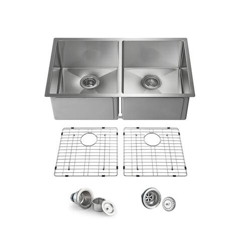 33 Inch Handcrafted Undermount Double Bowl Real 16 gauge Stainless Steel Kitchen Sink with Strainers and Grids