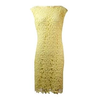 Lauren Ralph Lauren Women's Bateau Floral Lace Dress - Yellow